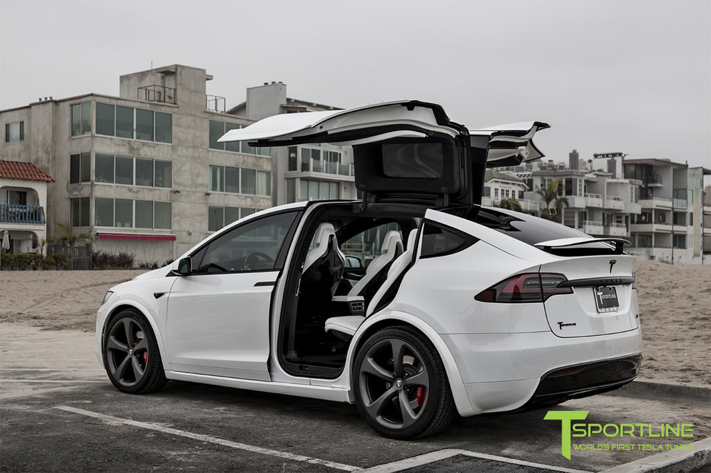 Pearl White Multi-Coat Model X with 3M Satin Black Chrome Delete: