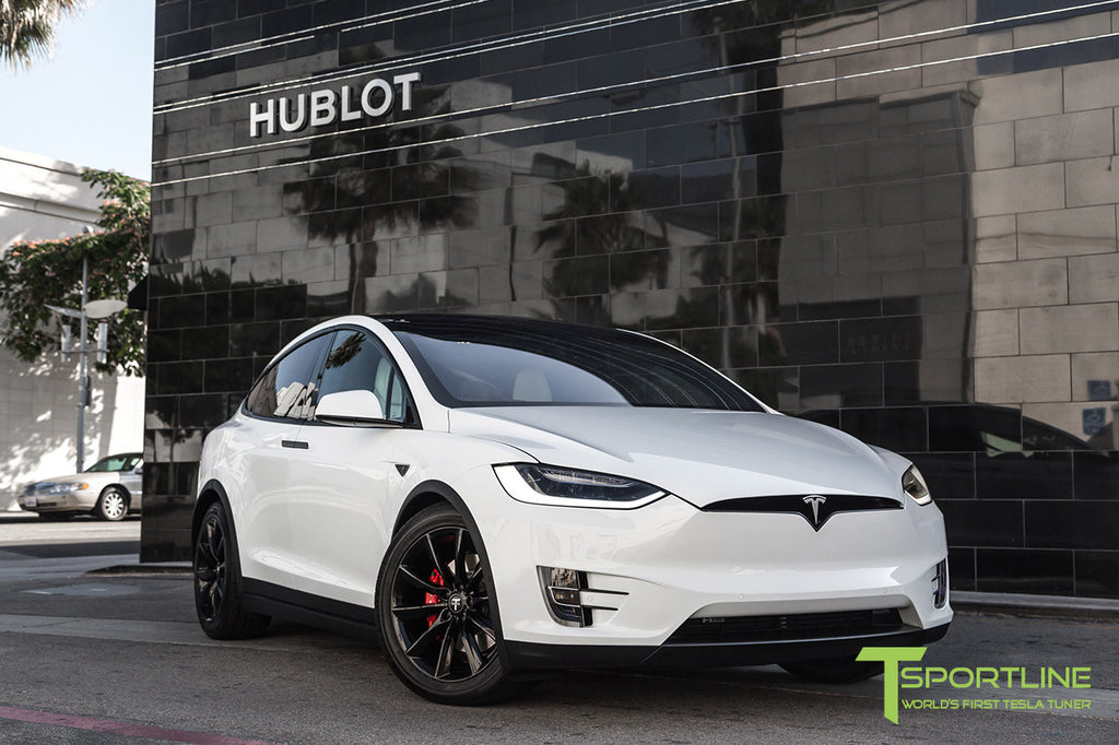 Pearl White Model X with 20 Inch TST Wheels