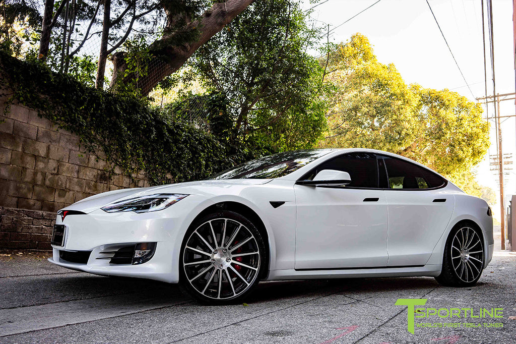 Pearl White Model S with 3M Gloss Black Chrome Delete