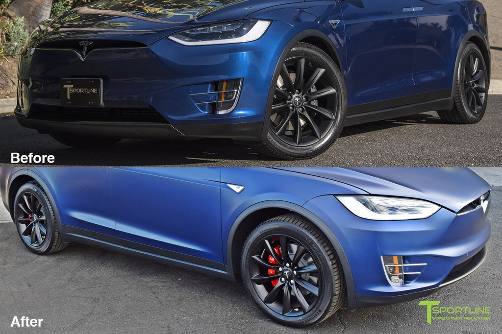 Xpel Clear Satin Bra Wrap on Deep Blue Metallic Tesla Model X with Black 20 inch TST Turbine Wheel