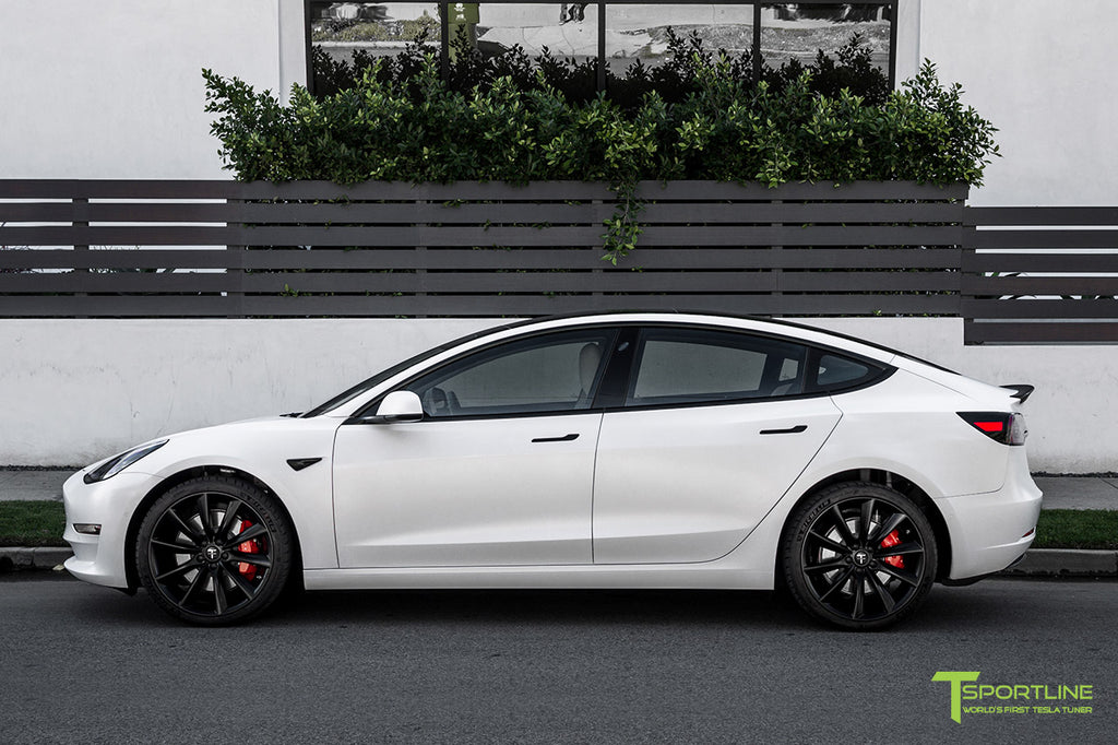 Xpel Clear Satin Bra Wrap on Pearl White Tesla Model 3 with Matte Black 20 inch TST Turbine Wheel