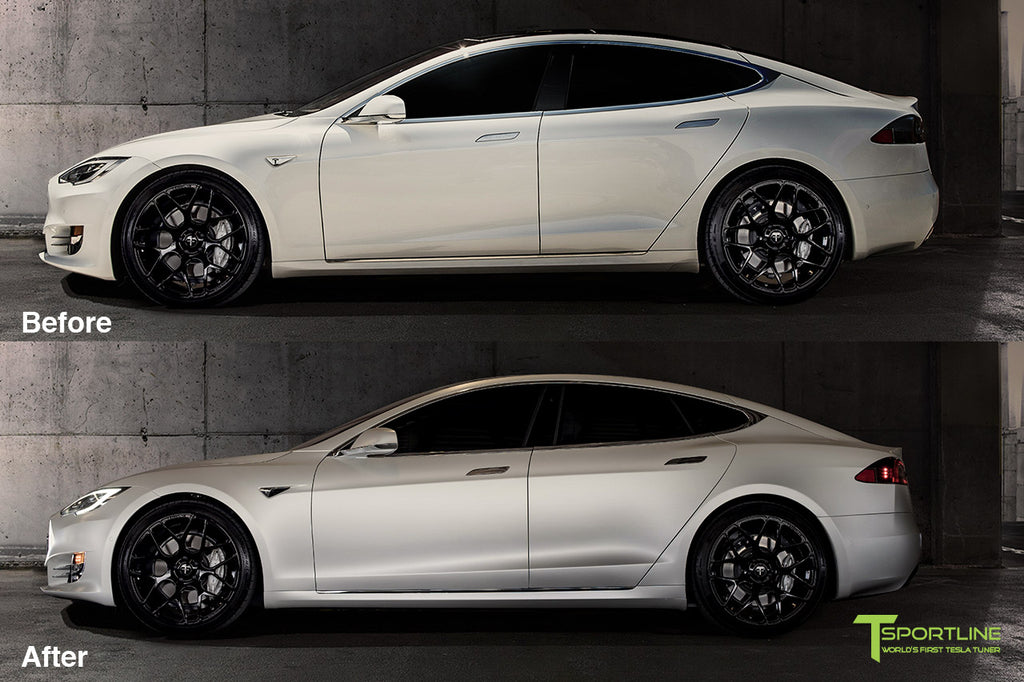 cb737adea9 Xpel Clear Satin Bra Wrap on Pearl White Tesla Model S with Black 21 inch  Forged ...