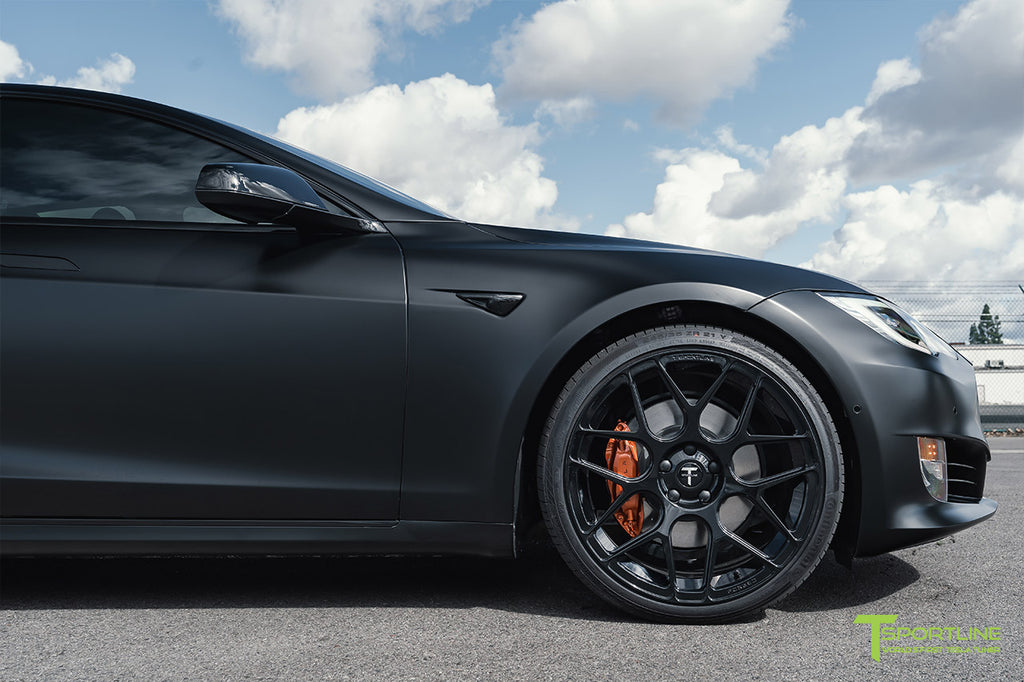 Xpel Stealth Black Tesla Model S Performance with 20 inch TS117 Gloss Black Aftermarket Wheels, Gloss Black Chrome Delete, Burnt Orange Brake Calipers by T Sportline