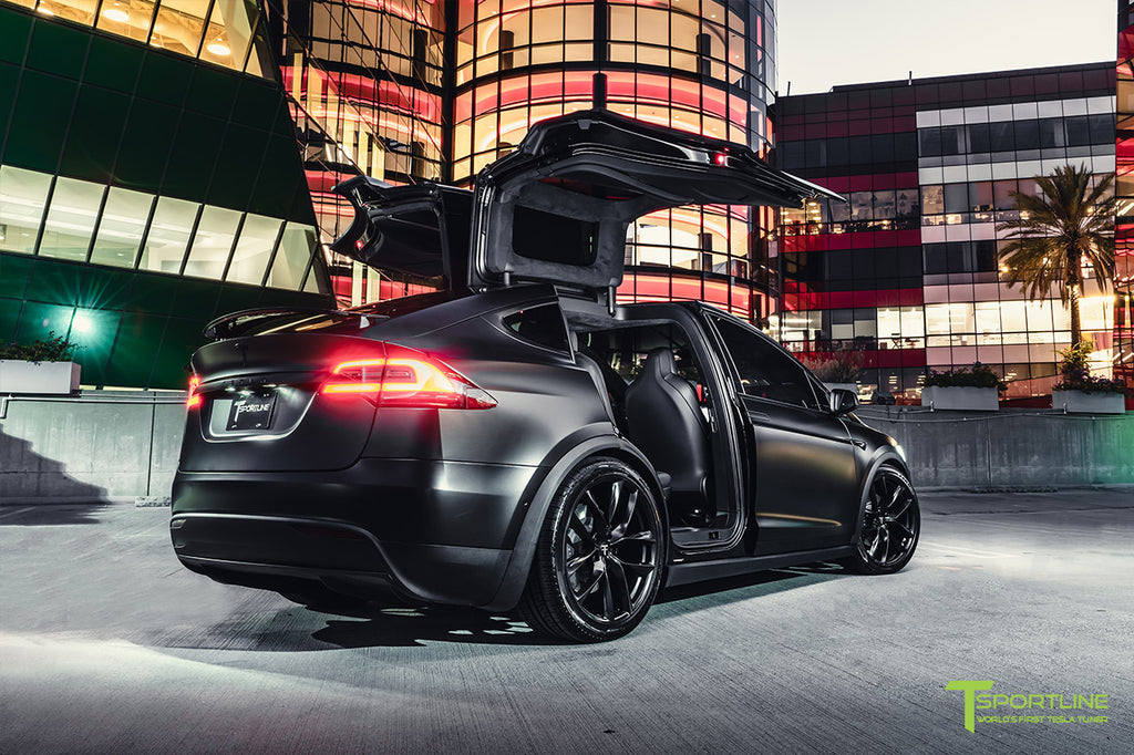"Xpel Stealth Black Tesla Model X Performance with 22"" TSS Flow Forged Arachnid Style Wheels"