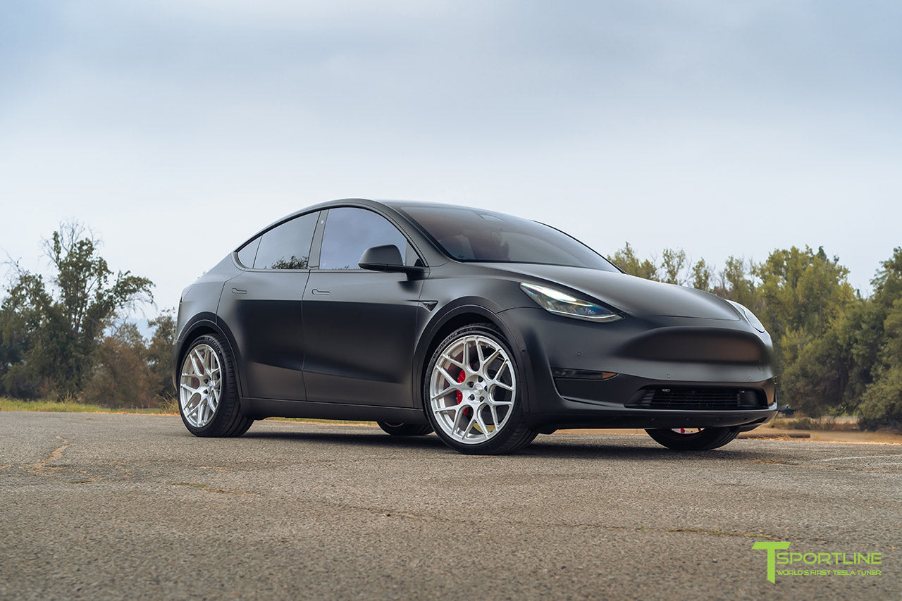 xpel stealth solid black tesla model y performance ty117 forged wheels