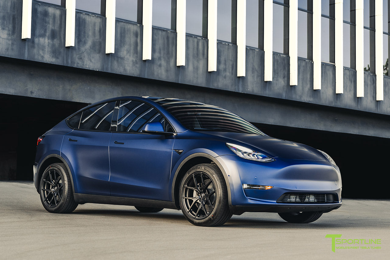 Xpel Stealth Deep Blue Metallic Tesla Model Y with 19 Inch Falcon Y Flow Forged Wheels in Ecliptic Black by T Sportline