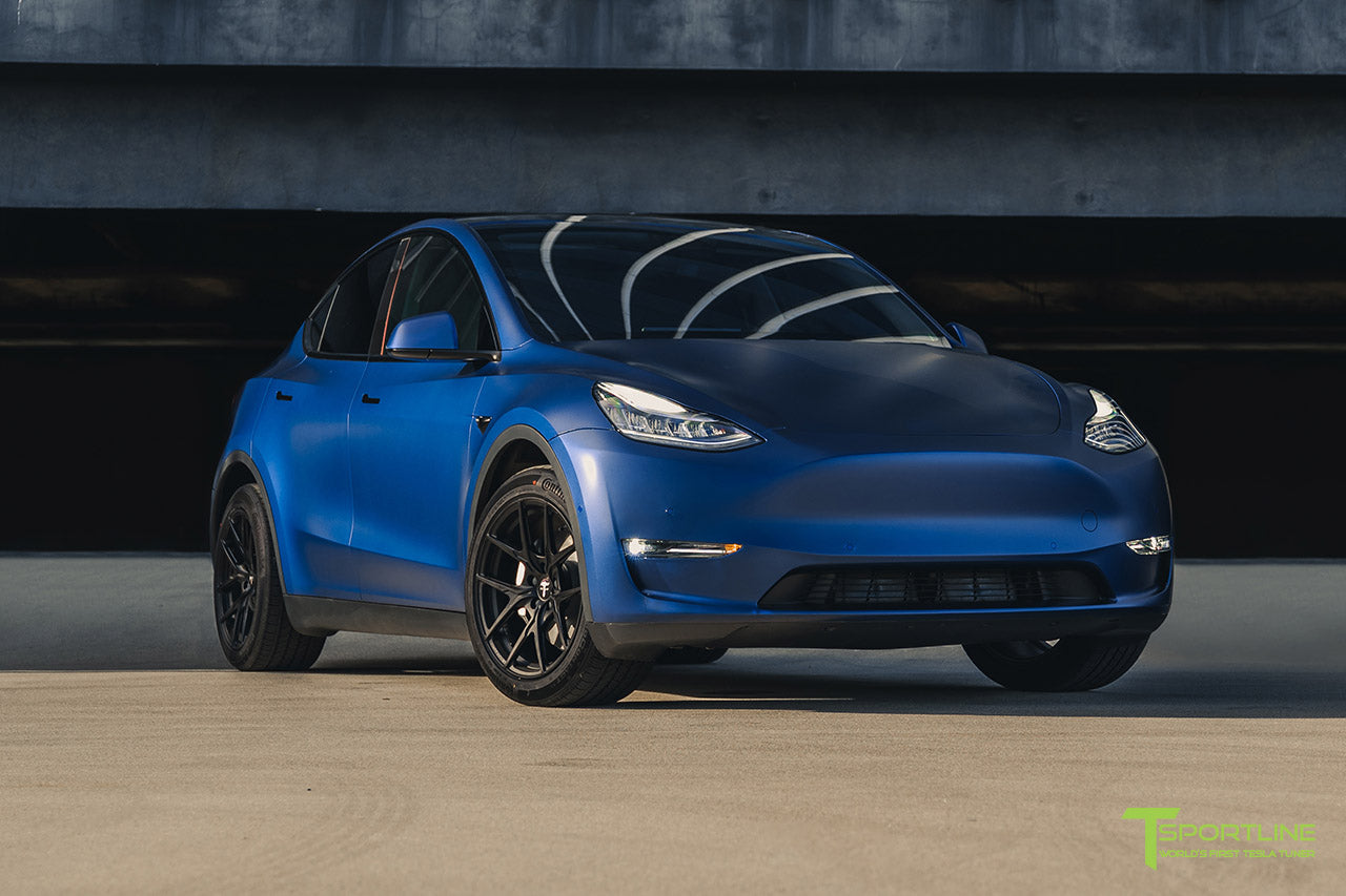 "Xpel Stealth Blue Tesla Model Y Long Range Dual Motor - 19"" Falcon Y Forged Wheels in Matte Black"