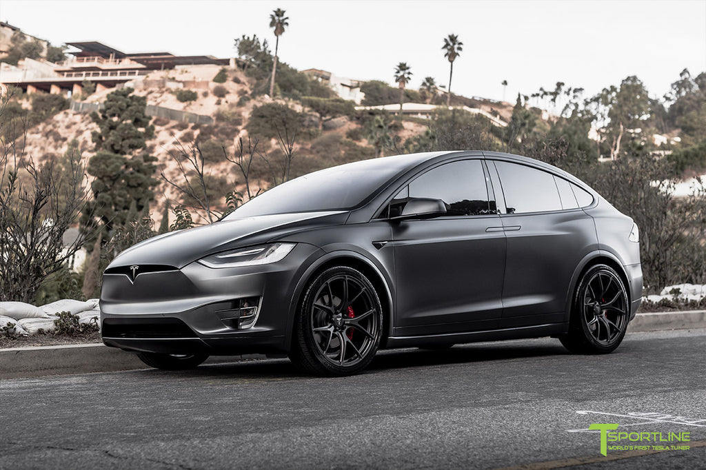"Xpel Stealth Midnight Silver Metallic Tesla Model X Performance with 22"" MX115 Forged Arachnid Style Wheels"