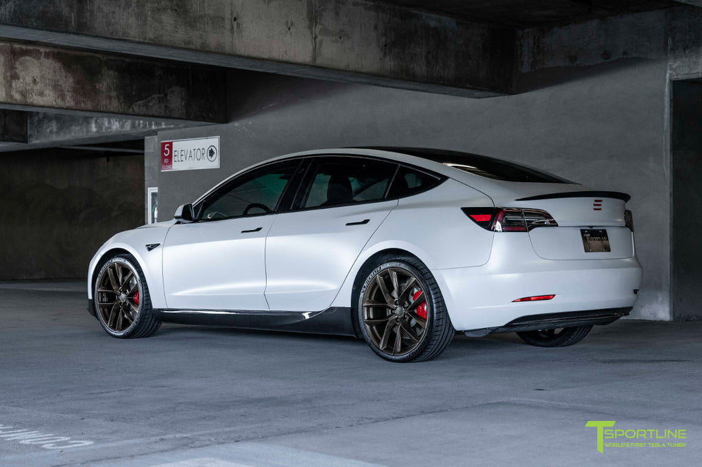 "Xpel Stealth Pearl White Tesla Model 3 Performance with Bronze 20"" TSS Flow Forged Wheels"