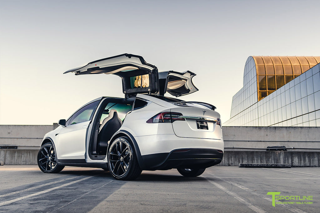"Xpel Stealth Pearl White Tesla Model X Performance with 22"" TSS Flow Forged Arachnid Style Wheels"
