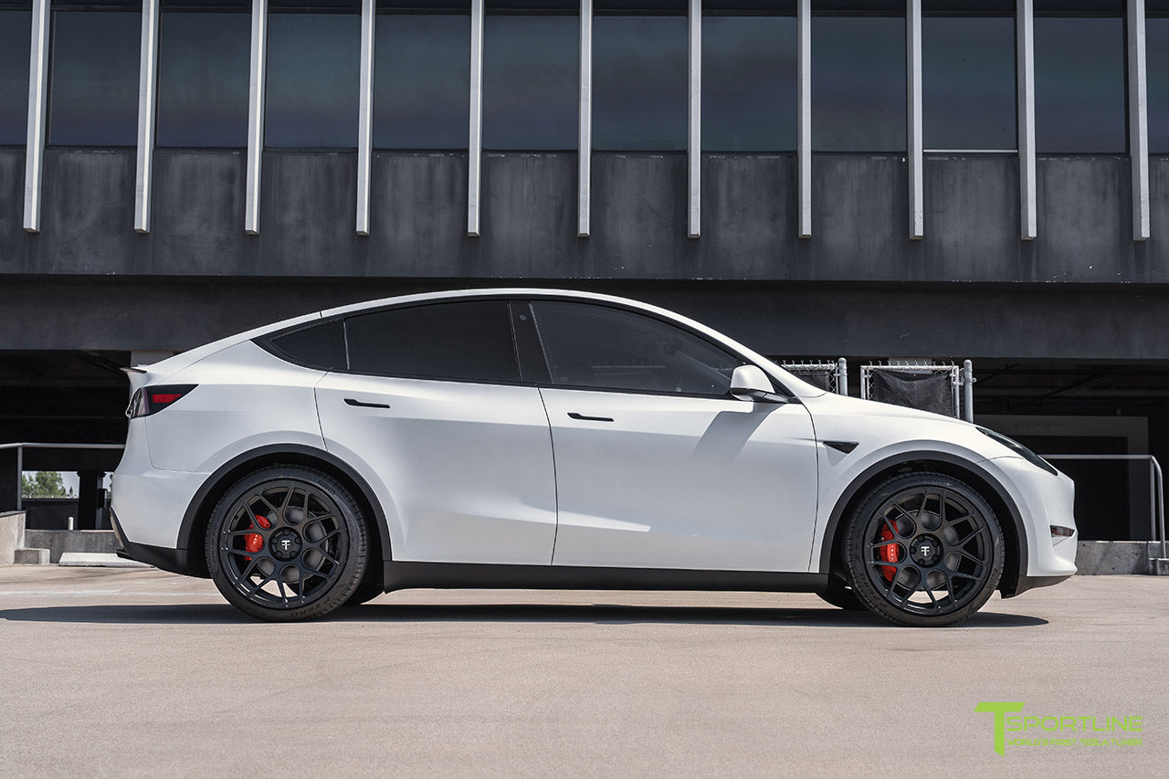 Xpel Stealth Pearl White Tesla Model Y with 21 inch TY117 Forged Wheels in Matte Black by T Sportline