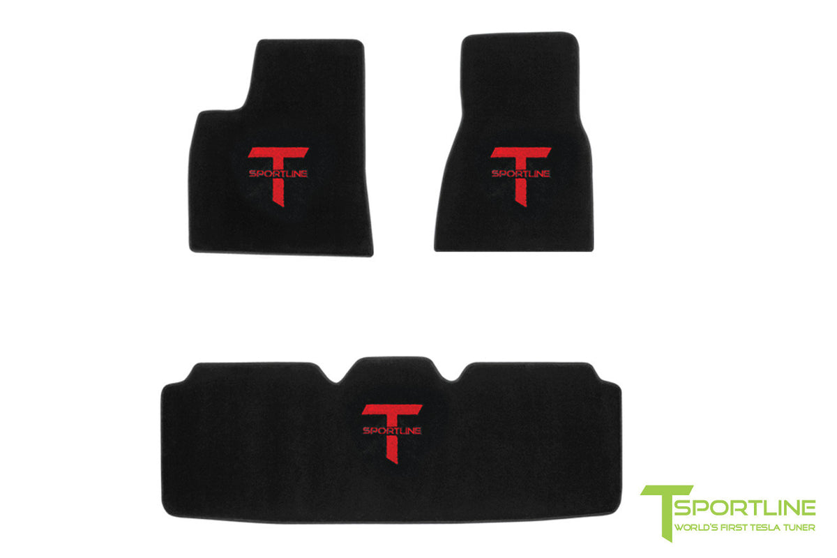 High-quality 3-Piece floor mats for Tesla Model S by T Sportline.
