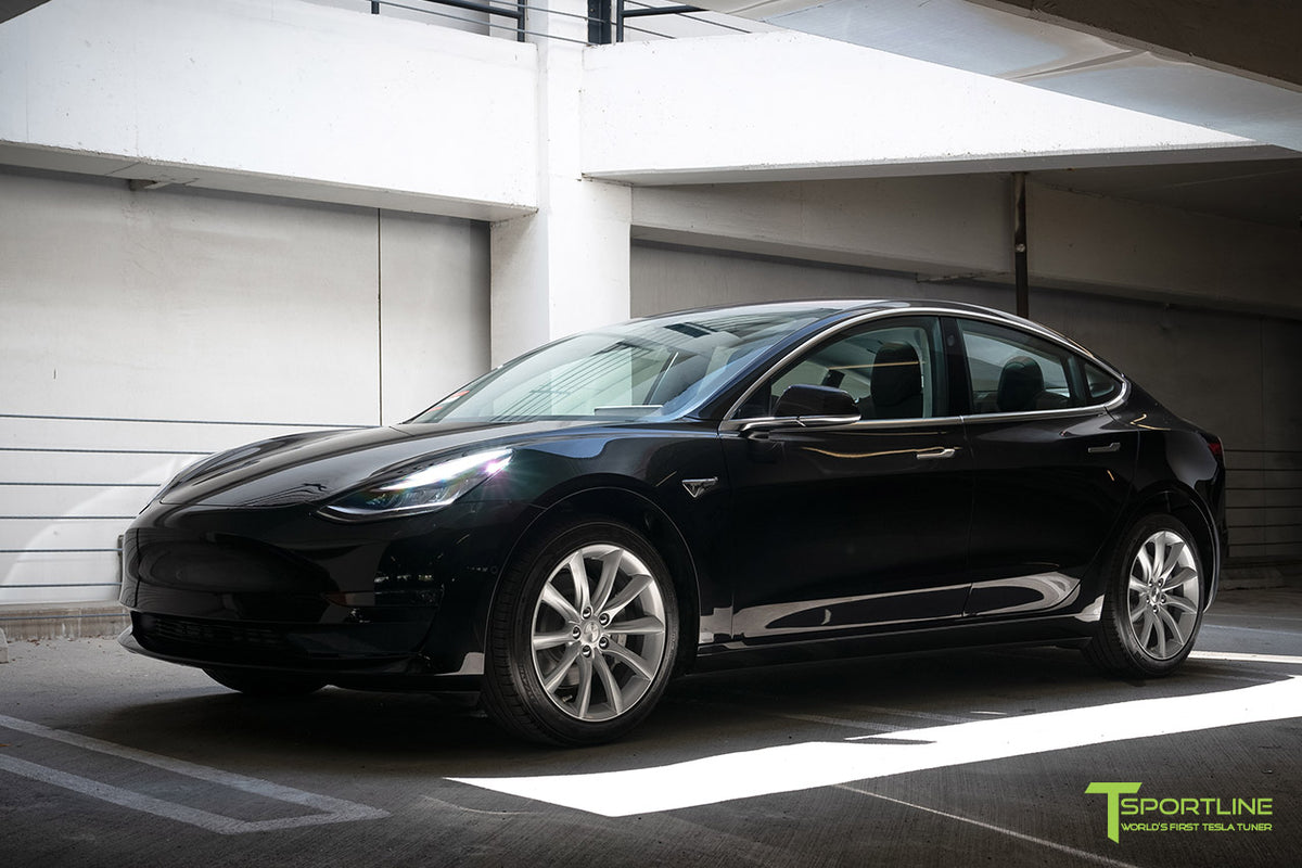 "Black Tesla Model 3 with Brilliant Silver 18"" TST Turbine Style Wheels by T Sportline"