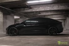 "Black Tesla Model 3 with Gloss Black 20"" Turbine Style TST Wheels and Lowering Springs"