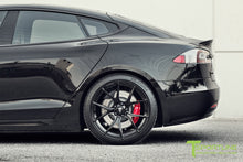 "Custom Tesla Model S with TS115 21"" Forged Wheels and Chrome Delete in Satin Black"