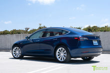 "Deep Blue Metallic Tesla Model 3 with Brilliant Silver 18"" TST Turbine Style Wheels by T Sportline"