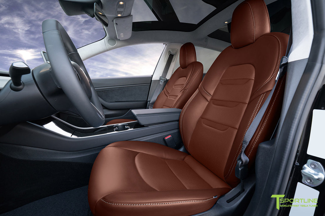 Tesla Model 3 Seat Upgrade Interior Kit Insignia Design Perforated T Sportline Tesla Model S 3 X Y Accessories
