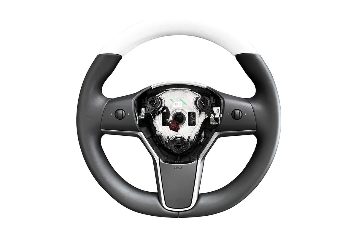 Tesla Model 3/Y Premium White Steering Wheel