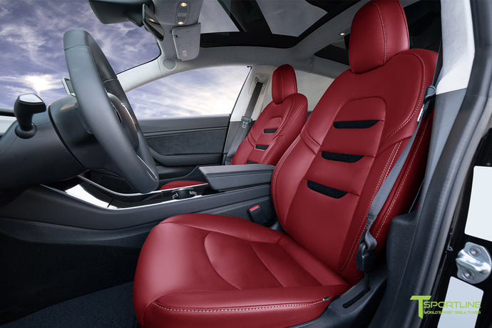 Red Vegan Tesla Model 3 Seat Upgrade Interior Kit - Insignia Design