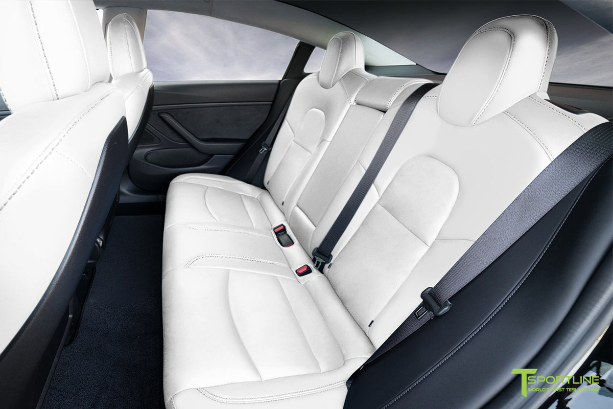Uber White Tesla Model 3 Seat Upgrade Interior Kit - Factory Design