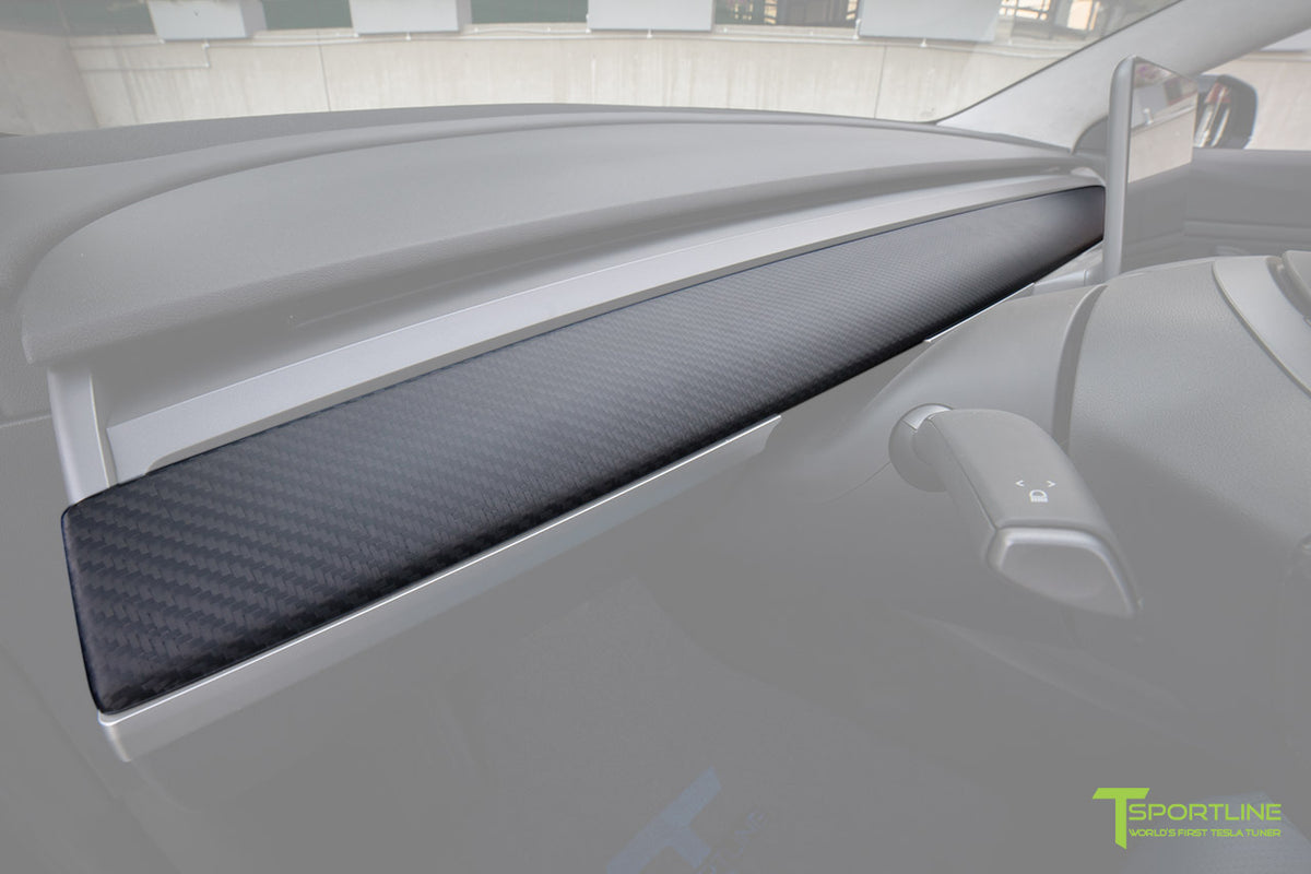 Tesla Model 3 Matte Carbon Fiber Dashboard