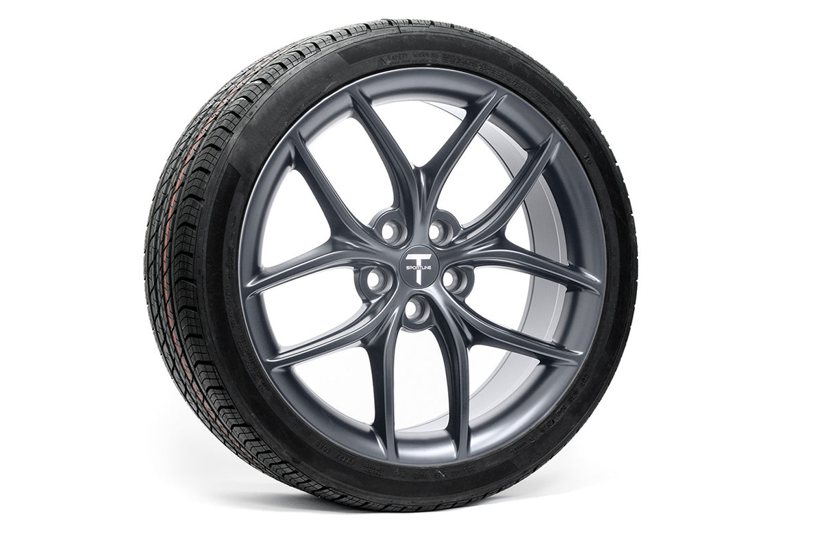 "Tesla Model 3 19"" TS5 Flow Forged Tesla Wheel and Tire Package (Set of 4)"