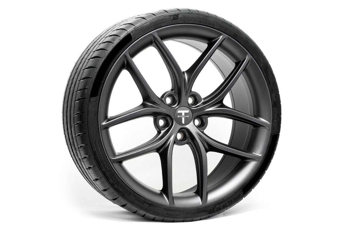 "Tesla Model 3 20"" TS5 Flow Forged Tesla Wheel and Tire Package (Set of 4)"