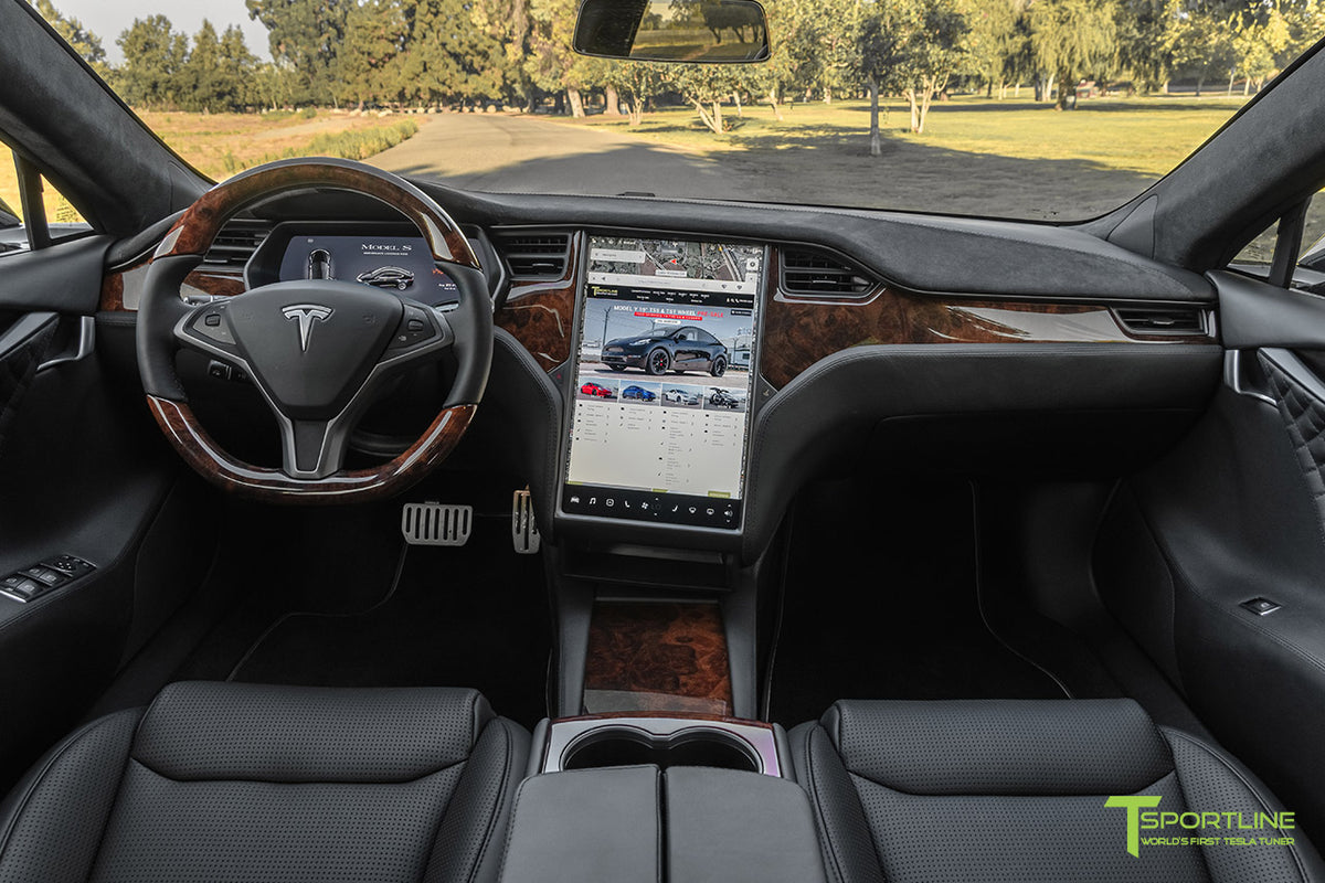 Tesla Model S Burl Wood Dash Panel and Center Console Kit