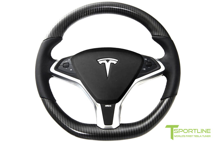 Tesla Matte Carbon Fiber Steering Wheel