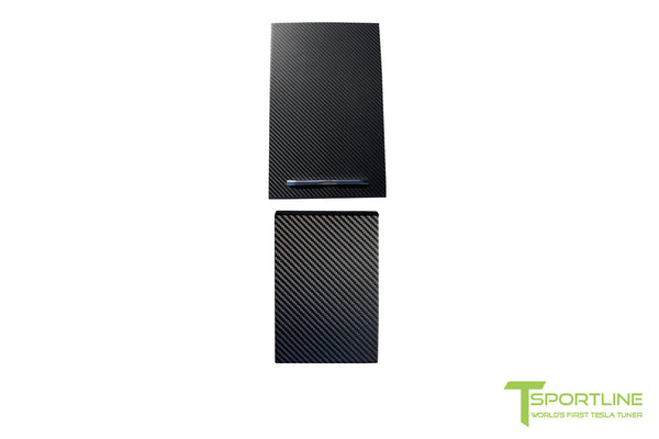 Tesla Carbon Fiber Center Console Flip Door and Sliding Tray Panel Set