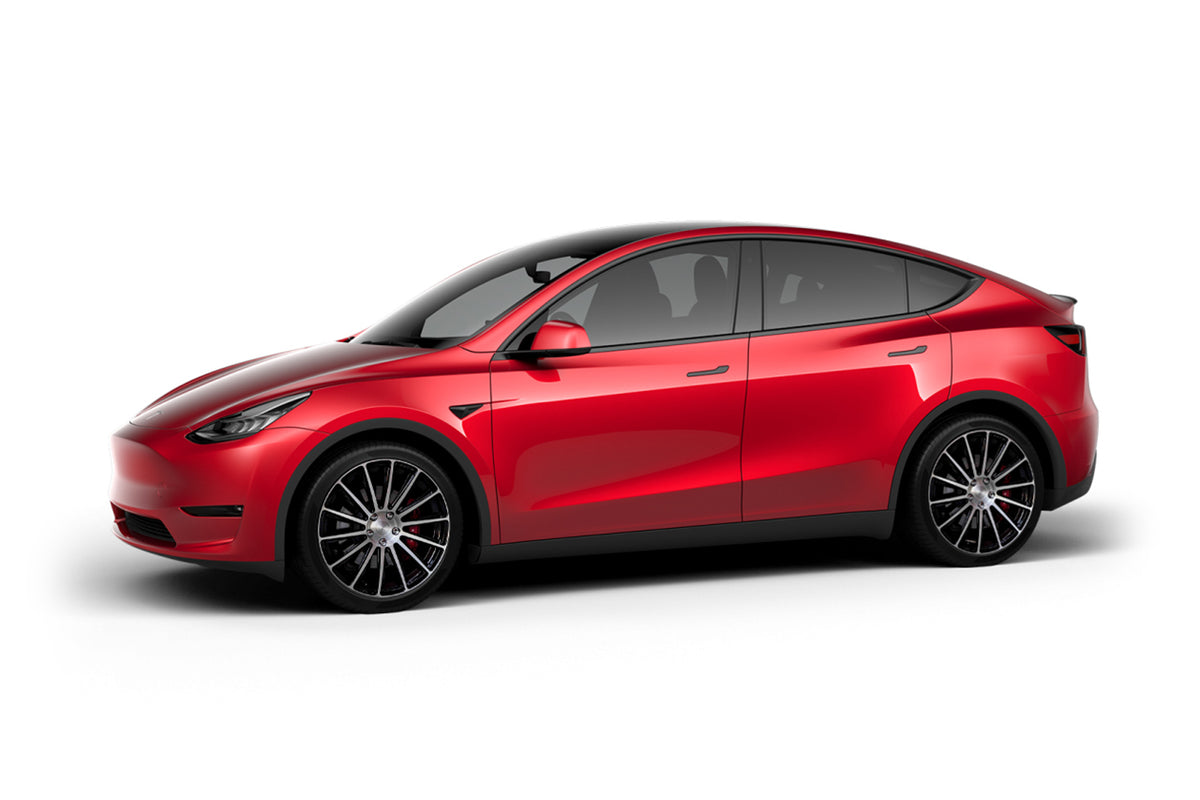 Red Multi-Coat Tesla Model Y 21 inch Forged Tesla Aftermarket Wheels