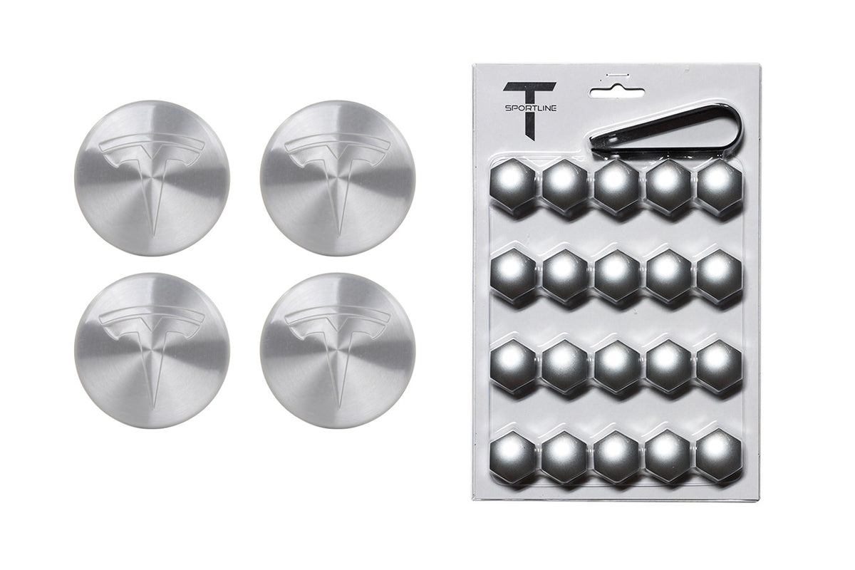 "Tesla Model Y Factory Brushed Center Cap Set and Wheel Lug Nut Cover Set in Silver for 19"" Gemini Wheels"