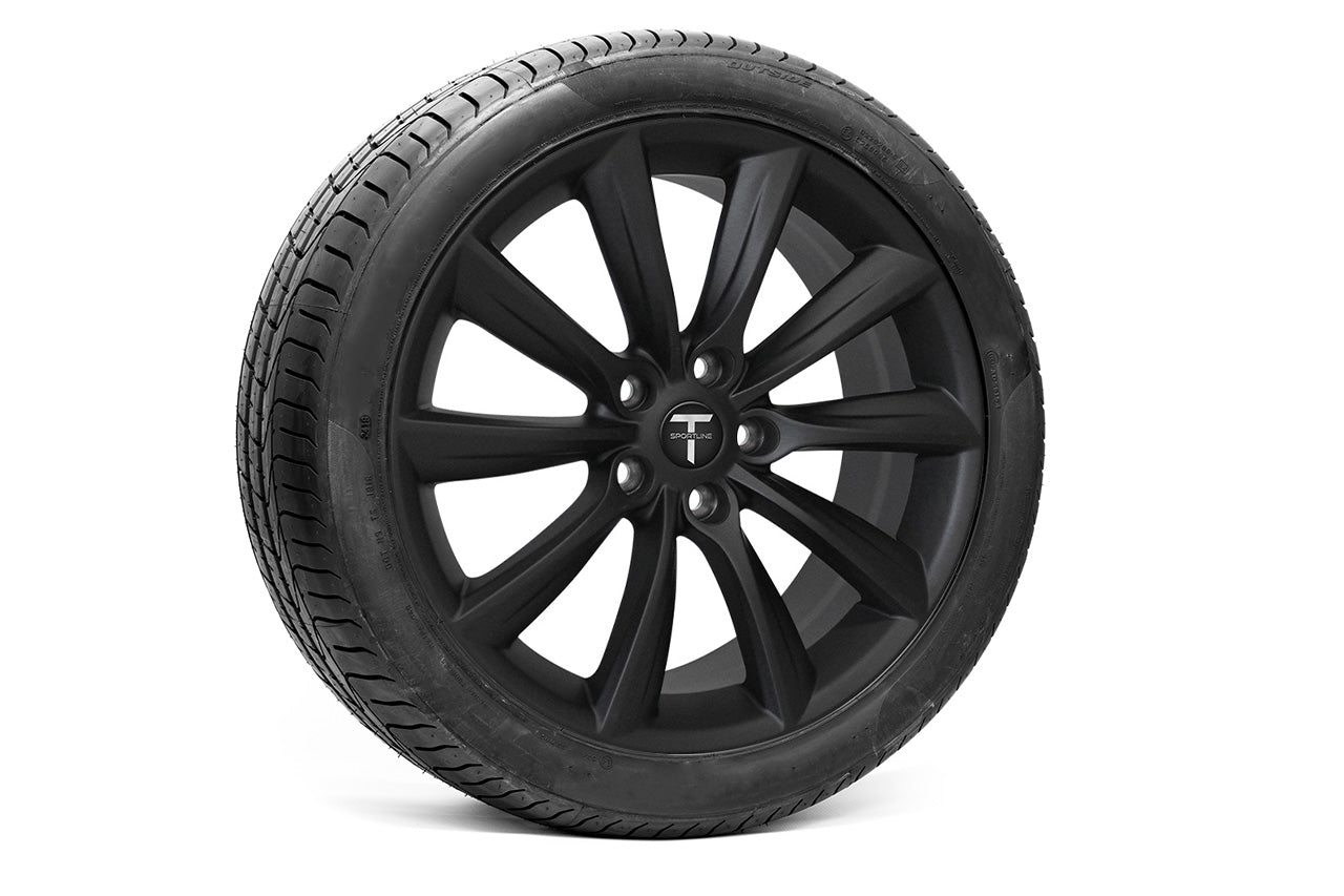 Tesla Model Y 20 inch Turbine Style TST Tesla Aftermarket Wheel & Tire Package in Matte Black