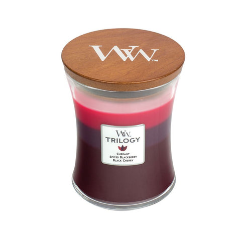 Woodwick sun ripened berries trilogy medium candle