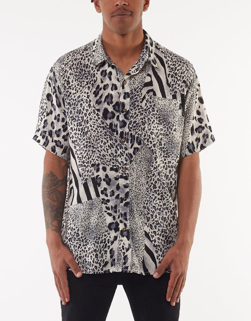 SPLICED SHORT SLEEVE SHIRT - NAVY