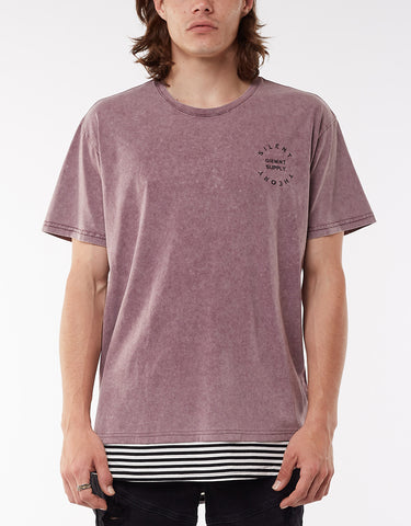 TRIMMED LAYERED TEE - PLUM