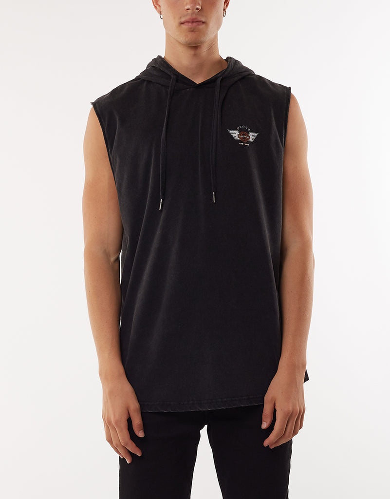 LANDED HOODED MUSCLE TEE - WASHED BLACK