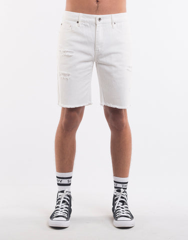 RAMBLE RIPPED SHORT - WHITE