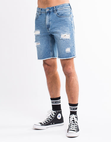 RAMBLE RIPPED SHORT - MID BLUE