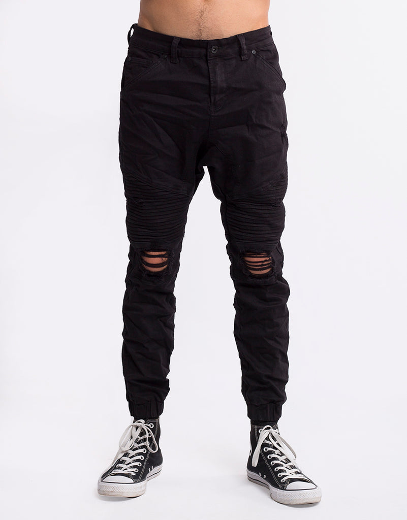 OUTLAW CUFFED JEANS - WASHED BLACK