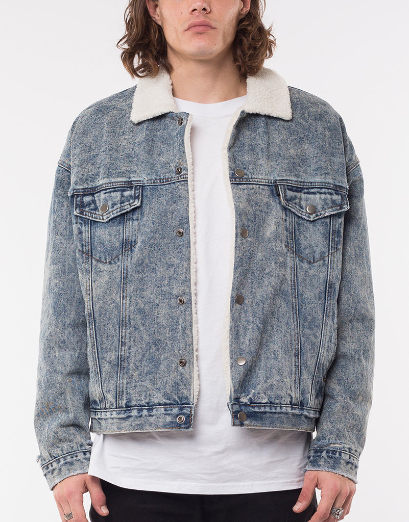 DIVISION SHERPA DENIM JACKET - ACID BLUE