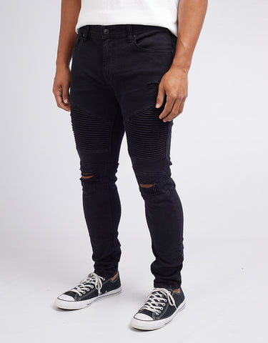 STRUNG OUT MOTO JEANS - BLACK