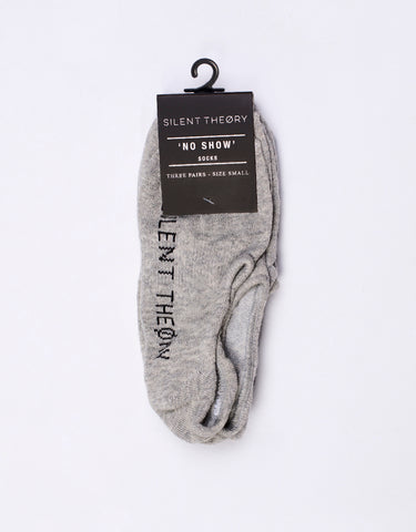 SILENT NO SHOW SOCK 3 PACK - GREY MARL