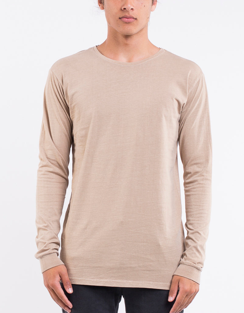 OVER CROTCH LONG SLEEVE ACID TEE - SAND