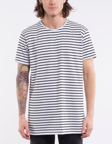 OVER CROTCH STRIPE TEE - WHITE & BLACK