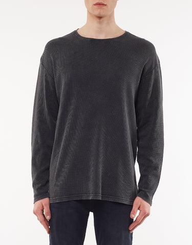 ACID WAFFLE LONG SLEEVE TEE - WASHED BLACK