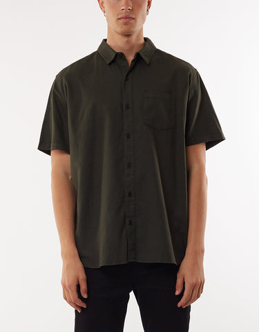 LINEN SHORT SLEEVE SHIRT - KHAKI