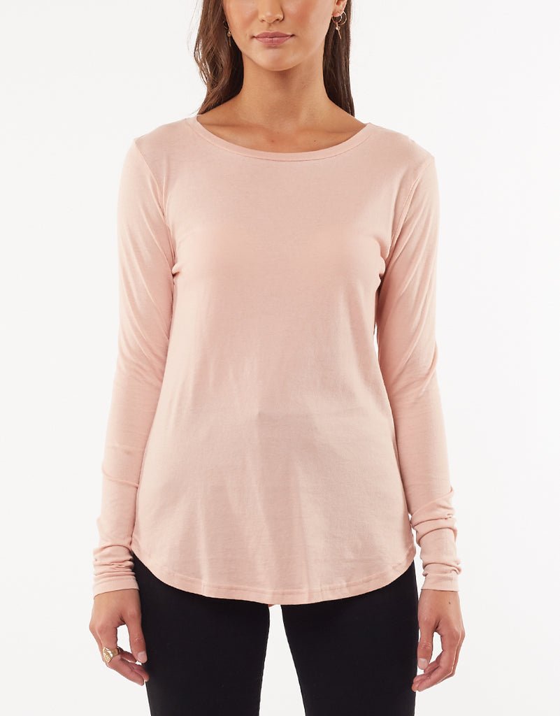 KARA LONG SLEEVE TEE - BLUSH