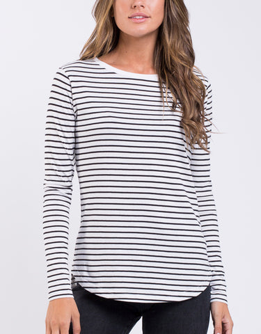 Kara Ls Tee Black White Stripe