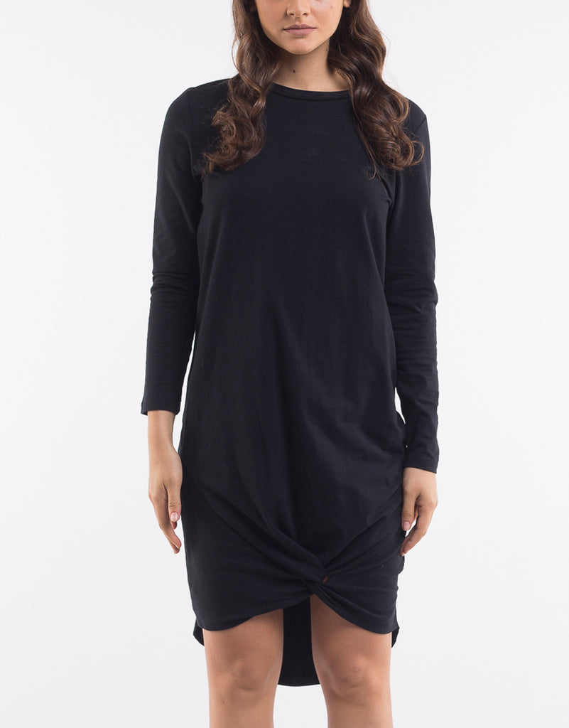 Long Sleeve Twisted Tee Dress Black